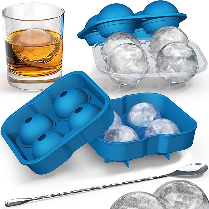 Ice Ball Mold With Stirring Spoon Whiskey Ice Ball Maker For Husband Includes Large And Small Sphere Ice Mold To Create Ice Balls Round Ice Cube Mold Ice Molds For Whiskey Ball Ice Cube Mold