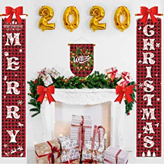 ANMUXI Merry Christmas Banner Buffalo Plaid Xmas Welcome Banners for Porch Front Door Fireplace Wall Garage Outdoor