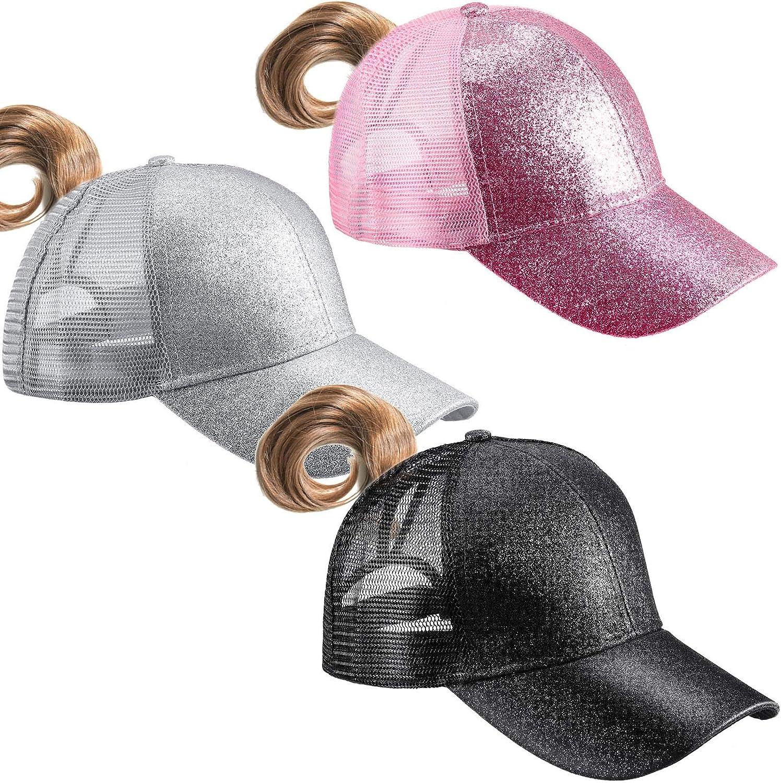 Geyoga 3 Pieces Women's Glitter Ponytail Baseball Cap, High Messy Bun Trucker Baseball Hat, Glitter Mesh Women Baseball Cap Dad Hat Ponytail Hat for Women