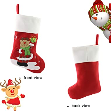 Bstaofy Wewill Red Traditional Christmas Stockings Set of 3 Santa Reindeer Snowman with Snowflake Christmas Party Gift, 18 in