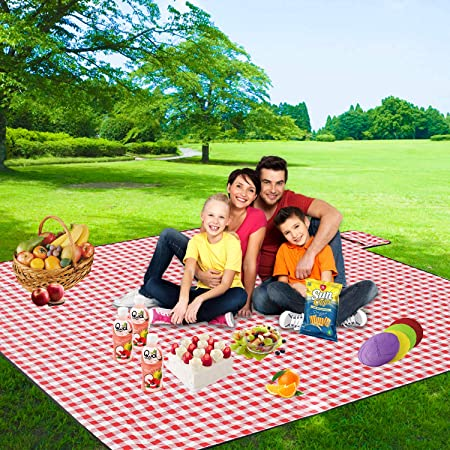 Red and White Camping on Grass Waterproof /& SandProof . Three Donkeys Extra Large Picnic Blanket 79x79,Oversized 3 Layers Outdoor Blanket Checkered Picnic Mat Great for The Beach