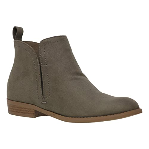4c441e09c49b MVE Shoes Women s Low Stacked Heel Closed Toe Casual Western Bootie