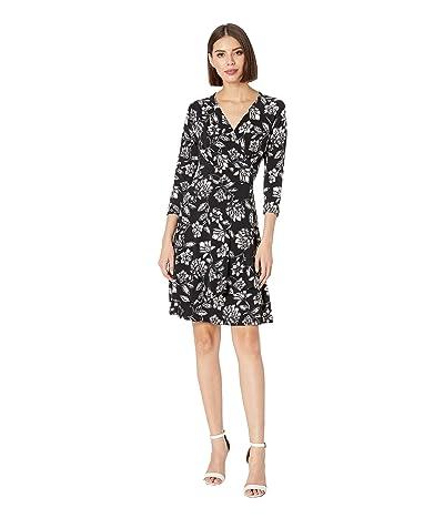 Karen Kane Faux Wrap Drape Dress (Print) Women