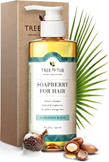 Gentle, Hair Growth Shampoo by Tree To Tub - Biotin Caffeine Hair Regrowth Shampoo for Thinning Hair and Hair Loss with Wild Soapberries, Organic Argan Oil, Pumpkin Seed Oil, for Women and Men 8.5 oz