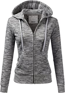 d83fdae7a2549 Doublju Lightweight Thin Zip-Up Hoodie Jacket for Women with Plus Size