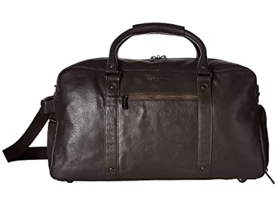 Kenneth Cole Reaction Leather Multi-Compartment RFID Duffel Bag (Brown) Duffel Bags