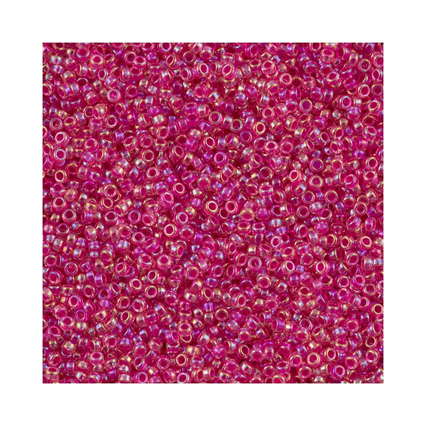 Fuchsia Lined Crystal ABMiyuki Japanese round rocailles glass seed beads 11/0 Approximately 24 gram 5 inch tube