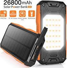 AMZGO Solar Charger 26800mAh,Portable 18W PD Fast Charger With Type-C In/Output&18W USB Output, LED Flashlight&Mosquito Repellent Lamp, IPX1 Rainproof