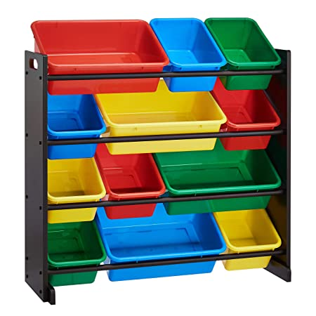ROCKPOINT Kid's origanizer 12 Bins Espresso/Primary Toy Storage Organizer