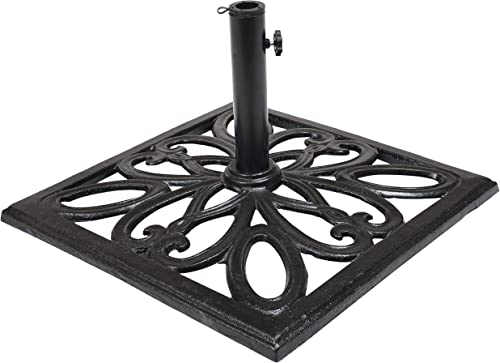 Sunnydaze 22-Inch Square Cast Iron Umbrella Base with Imperial Geometric Design - Black Finish - Outdoor Heavy Duty Metal Backyard Furniture Decor Accessory