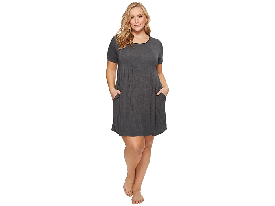 Donna Karan Plus Size Modal Spandex Jersey Sleepshirt (Charcoal Heather) Women