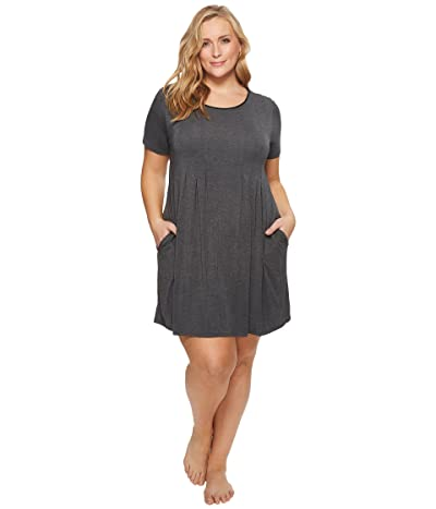 Donna Karan Plus Size Modal Spandex Jersey Sleepshirt (Charcoal Heather) Women
