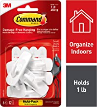 Command 1 lb Capacity Utility Hooks, 6 Hooks, 12 Strips, Indoor Use (17002-6ES)