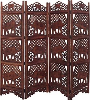 Benjara TUP THE URBAN PORT BM34823 Hand Carved Elephant Design Foldable 4-Panel Wooden Partition Screen/Room Divider, Brown,
