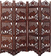 Benjara, Brown Hand Carved Elephant Design Foldable 4-Panel Wooden Partition Screen/Room Divider