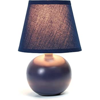 X 12 in. - 6 in Navy Blue Cadence Ceramic Table LAMP with Shade