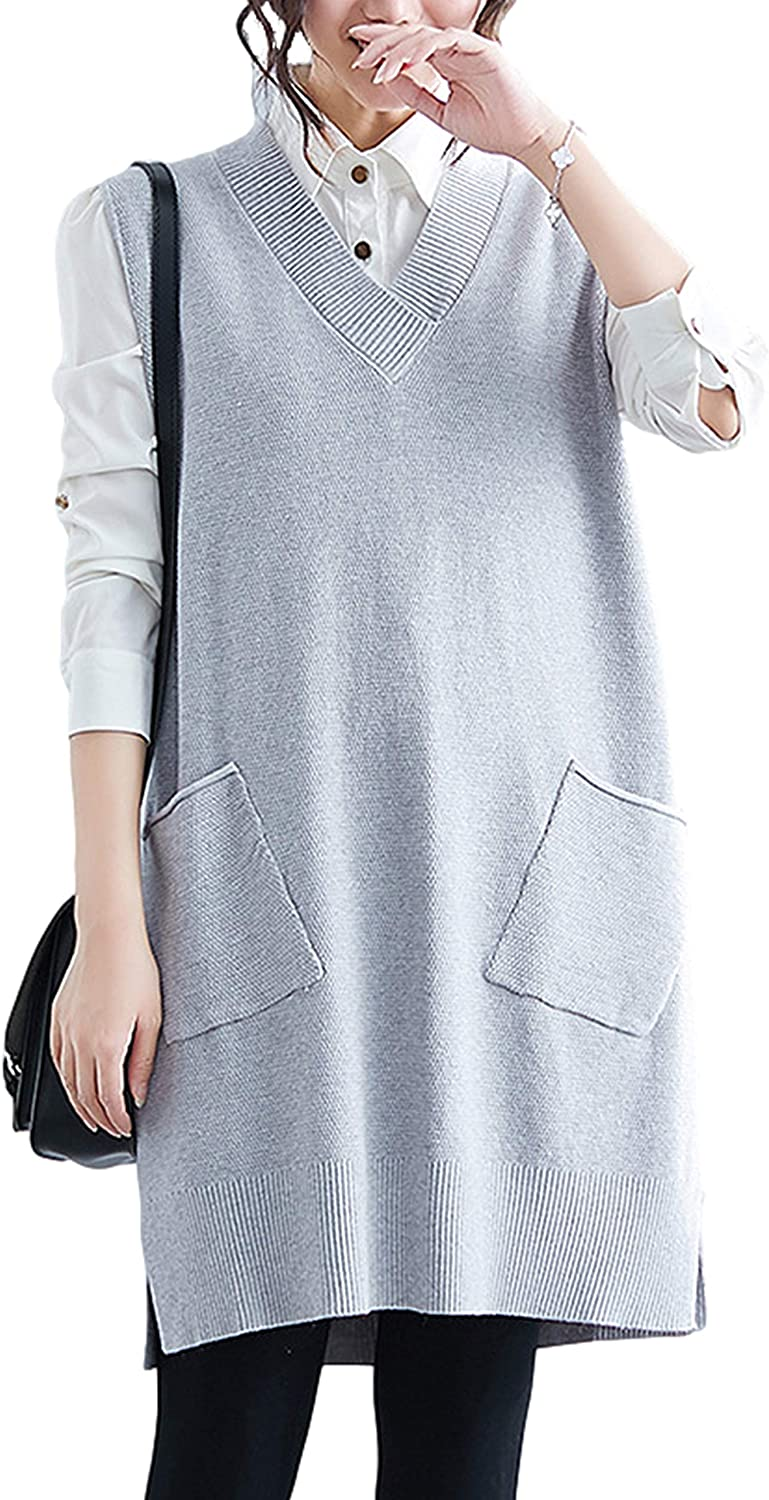 Gihuo Women's Casual Loose V Neck Mid Long Sweater Vest Knit Tank Dress