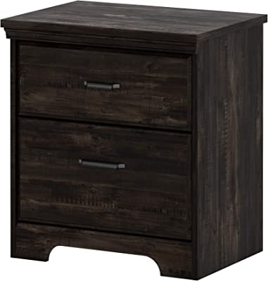 South Shore Versa 2-Drawer Nightstand-Rubbed Black