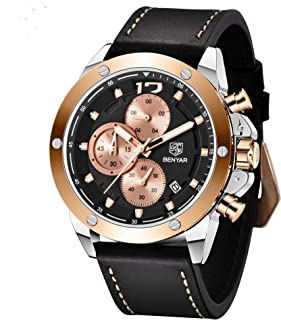 BENYAR Mens Watches Chronograph Sports Leather Waterproof Date Analog Quartz Fashion Business Wrist Watches for Men