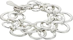 Hammered Circle Link Multi Row Toggle Bracelet