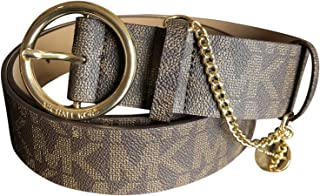 Michael Kors Women's Belt Monogrammed Brown Faux Leather Hanging Gold Chain Charm