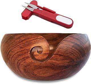 Wooden Yarn Bowl Gift Set, Rosewood Knitting Yarn Bowl, Wood Yarn Ball or Skein Holder, Crochet and Knitting Bowl for Yarn, Handcrafted Sheesham Bowls