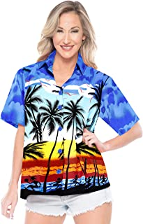 LA LEELA Women Blouse Top Hawaiian Shirt Collar Aloha Print
