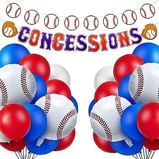 52 Pieces Baseball Party Decorations Kit Include 50 Baseball Themed Balloons and 1 Baseball Concessions Banner 1 Baseball ...
