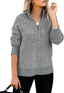 GRAPENT Womens Casual Zipper Fleece Pullover Sweater Long Sleeves Outwear Jacket