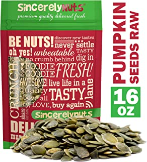 Sincerely Nuts - Raw Shelled Pepitas Pumpkin Seeds (Unsalted) (1lb bag) | Heart Healthy All Natural Snack Food for Eating or Cooking | Vegan, Kosher, Gluten Free Food | Protein & Antioxidants