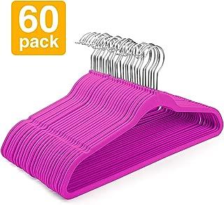 HOUSE DAY Premium Velvet Hangers Non-Slip Velvet Hangers 60 Pack Suit Hangers Ultra Thin Space Saving 360 Degree Swivel Hook Clothes Hangers Velvet for Coats,Jackets,Pants,Dress,Hot Pink Hanger