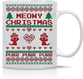 Meowy Christmas Purr - Merry Christmas Funny Cat Mug - 11OZ Coffee Mug - Holiday Mugs – Cute Xmas Mug, Funny Christmas Mug - Perfect Gift for the Holidays- By AW Fashions