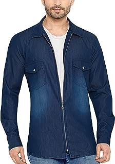 Global Rang Men's Full Zip Solid Denim Shirt (Blue, 38)