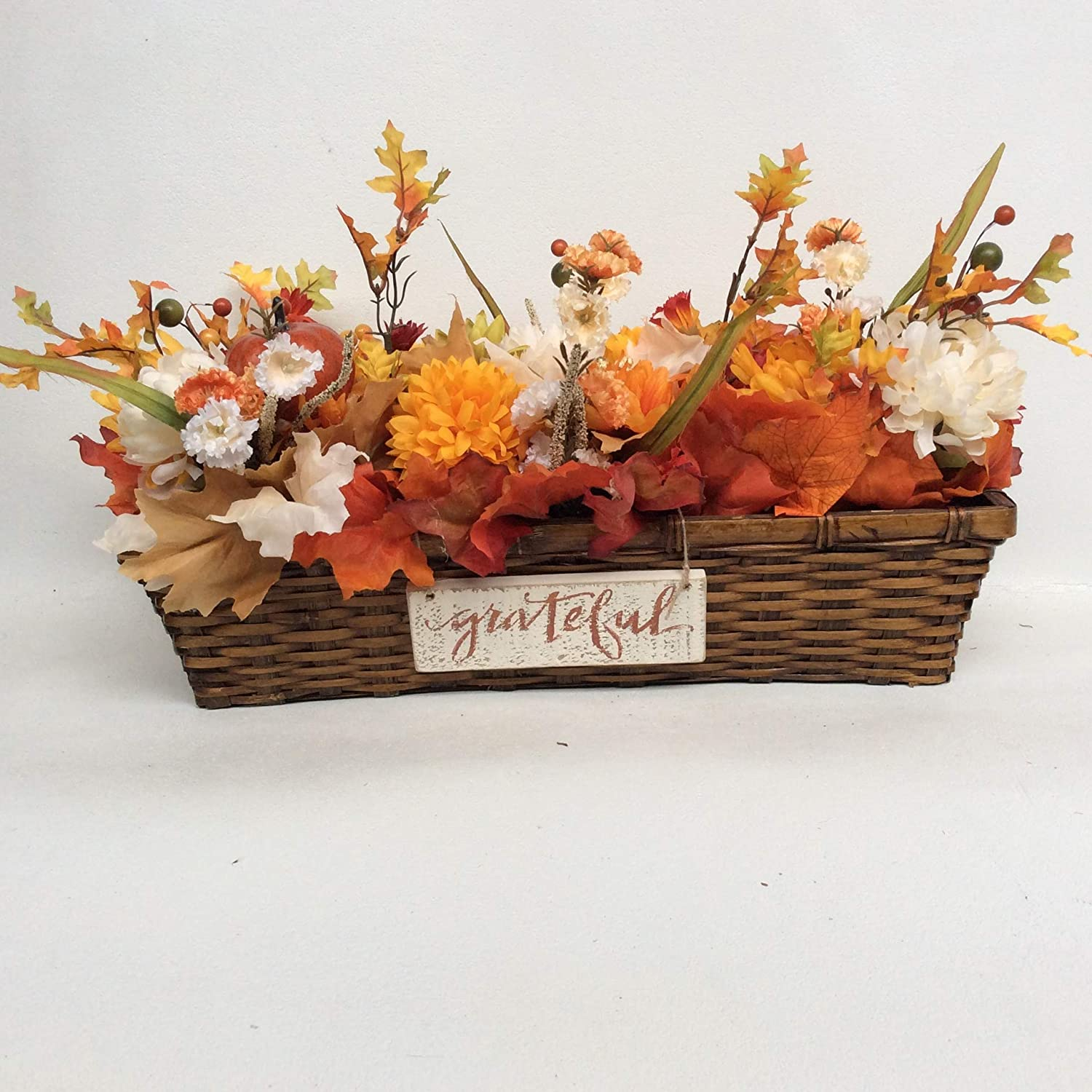 Bombing new work AGD Fall Decor- Blessed Grateful Basket Long Floral Cent Display Latest item