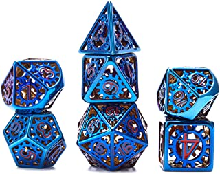 7 Pieces Metal Dices Set DND Game Polyhedral Hollow Out Metal D&D Dice Set with Storage Bag and Zinc Alloy for Role Playin...