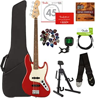 Fender Player Jazz Bass, Pau Ferro - Sonic Red Bundle with Gig Bag, Stand, Cable, Tuner, Strap, Strings, Picks, Fender Play Online Lessons, and Austin Bazaar Instructional DVD