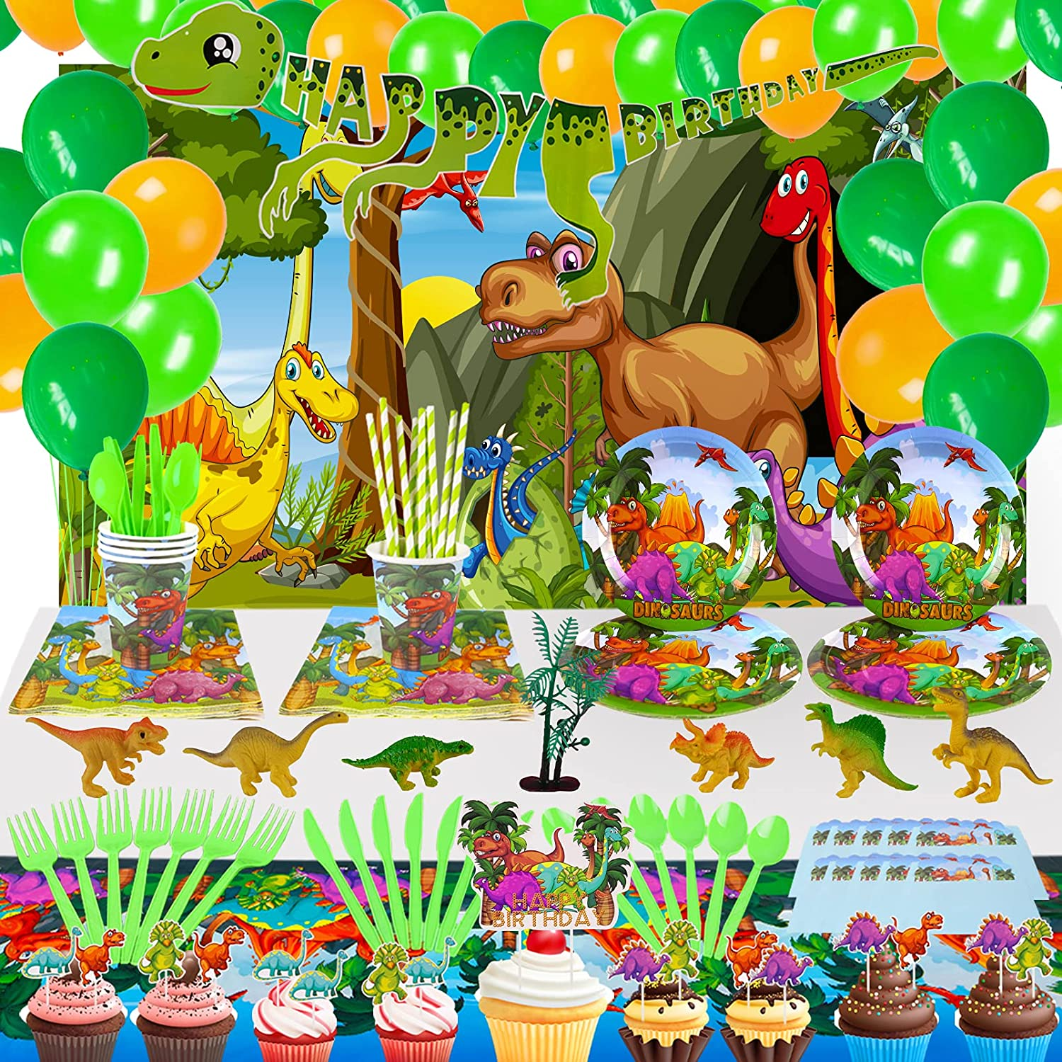 Dinosaur Birthday Party Supplies for Kids, Dino Decoration Pack