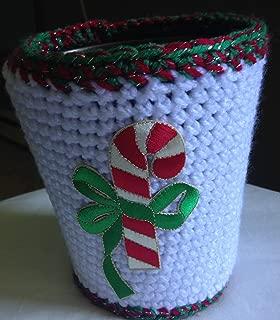 Crochet Christmas Candy Cane Flower Pot Cover