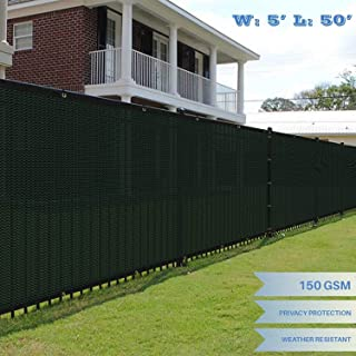 E&K Sunrise EK0550GE Fence Privacy Screen Commercial Outdoor Backyard Shade Windscreen Mesh Fabric 3 Years Warranty Customized, 5' x 50', Green