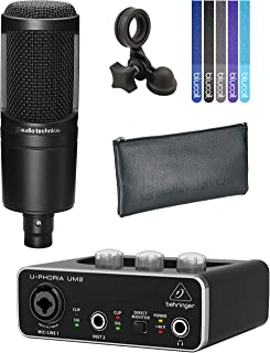 Audio-Technica AT2020 Cardioid Condenser Microphone with Pivot Stand Bundle with Behringer U-PHORIA UM2 2x2 USB Audio Interface and 5-Pack of Blucoil Cable Ties
