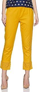 Rangriti Women's Flared Pants (RMMASSORTED1791_Mustard_S)