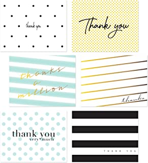 54 Pack Thank You Flat Note Cards - Polka Dot and Striped Assorted Blank Back Thank You Notes, All Occassion No Fold Flat Thank You Greeting Cards and Envelopes (Polka Dot & Stripes V1)