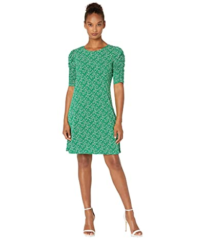 CeCe Ruched Sleeve Lace Floral Dress (Lush Green) Women