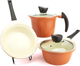 Compact Cookware Set (2 Lids) | Portable Camping Lightweight | Nonstick Ceramic Coating, Scratch Resistant, Reduced Oil | Free of BPA, PTFE/PFOA | Made in Korea