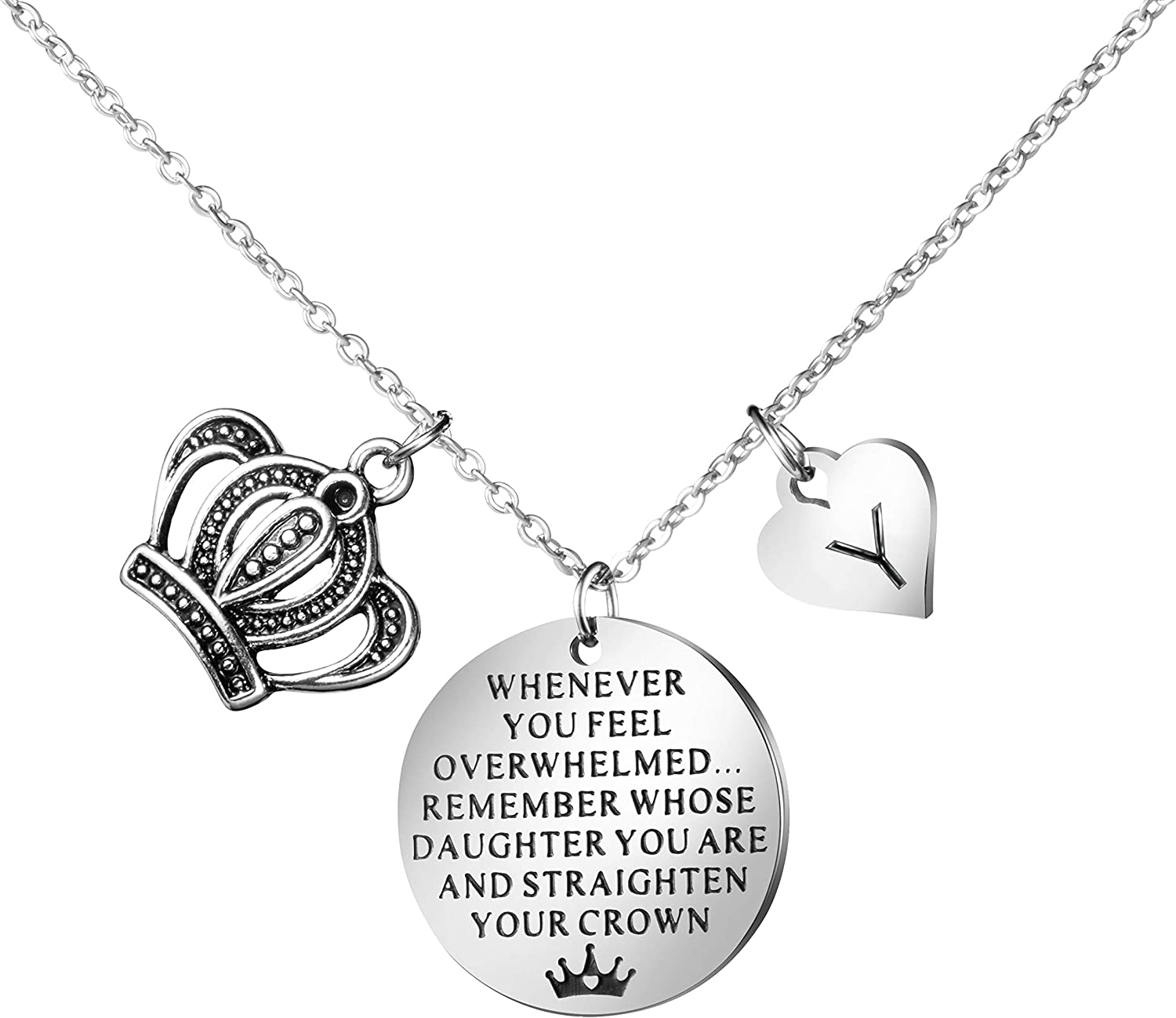 Joycuff Inspirational Gifts to My Daughter from Mom Dad Whenever You Feel Overwhelmed Remember Whose Straighten Your Crown Personalized Initial Letter Necklaces for Her