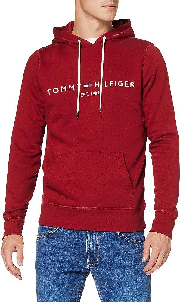 Tommy hilfiger tommy logo hoody felpa per uomo con cappuccio 70% cotone organico 30% poliestere MW0MW11599