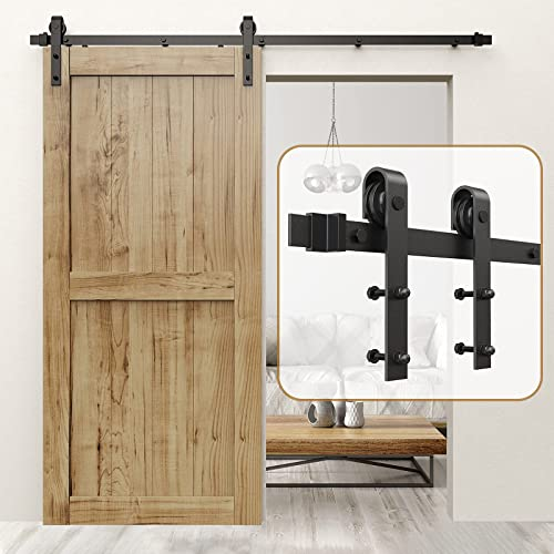 """discount ROOMTEC Sliding Barn Door Hardware Kit 6ft Heavy Duty Sturdy - Smoothly and Quietly - Easy Installation - Fit 1 3/8-1 3/4"""" Thickness outlet sale Door Panel - Black(J Shape sale Hanger) online"""