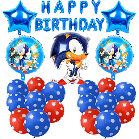 Cumpleaños Sonic Globos Decoración Set Sonic Pancarta de Feliz Cumpleaños Hedgehog Aluminio Globos Decoración