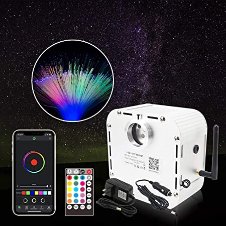 CHINLY Bluetooth 32W RGB Twinkle LED Fiber Optic Star Ceiling Kit Light APP/Remote Control Mixed 710pcs (0.03in+0.04in+0.06in+0.08in) 13.1ft Optical Fiber+Adapter+Cigarette Lighter+10 Crystals