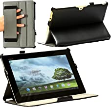 Navitech Faux Leather Multi Stand Case Cover with Hand Strap Compatible with The Asus Memo Pad 10 Smart (Black)